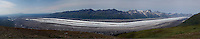 August 7, 2004, 11:35 AM, Panorama of of the Kahiltna Glacier from spur between Granite and Hidden Creeks, Denali National Park and Preserve, Alaska, United States.  This image is a repeat of Stephen Reid Capps' July 14, 1911 panorama taken at the same location.  Image is composed of several individual images taken by Ron Karpilo.