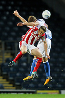 Stoke City U23s' Mark Waddington competing in the air with Blackburn Rovers' Matthew Platt  <br /> <br /> Photographer Andrew Kearns/CameraSport<br /> <br /> The EFL Checkatrade Trophy - Blackburn Rovers v Stoke City U23s - Tuesday 29th August 2017 - Ewood Park - Blackburn<br />  <br /> World Copyright &copy; 2018 CameraSport. All rights reserved. 43 Linden Ave. Countesthorpe. Leicester. England. LE8 5PG - Tel: +44 (0) 116 277 4147 - admin@camerasport.com - www.camerasport.com