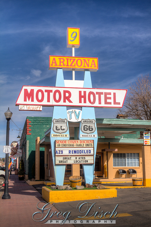 The Arizona 9 Motel on Route 66 in Williams Arizona.  The  motel was originally built as Sutton's Hotel Cottages, later renamed Sutton's Courts.  The Whiting Brothers acquired the motel in the early 1960s, operated it for about thirty years, and sold this motel in the early 1990s. It has been operating as the Arizona 9 Motor Hotel for most of this time.