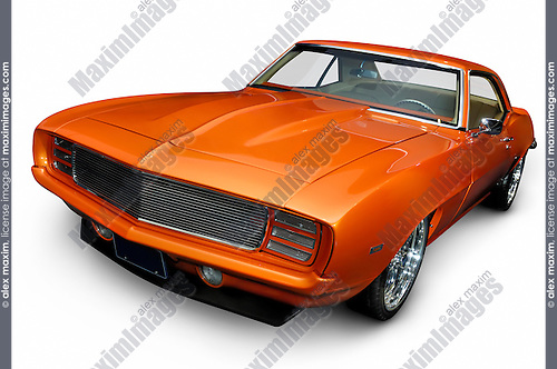1969 Chevrolet Camaro RS/SS classic vintage muscle car Isolated silhouette with clipping path on white background