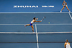 Chen Liang (L) and Zhaoxuan Yang (R) of China in action during the doubles Round Robin match of the WTA Elite Trophy Zhuhai 2017 against Ying-Ying Duan and Xinyun Han of China  at Hengqin Tennis Center on November  04, 2017 in Zhuhai, China. Photo by Yu Chun Christopher Wong / Power Sport Images