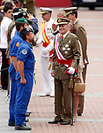 Juan Carlos I King of Spain  and Prince Felipe greets the soldiers during a military parade marking the Armed Forces Day on June 2, 2012 in Valladolid.(ALTERPHOTOS/Acero)