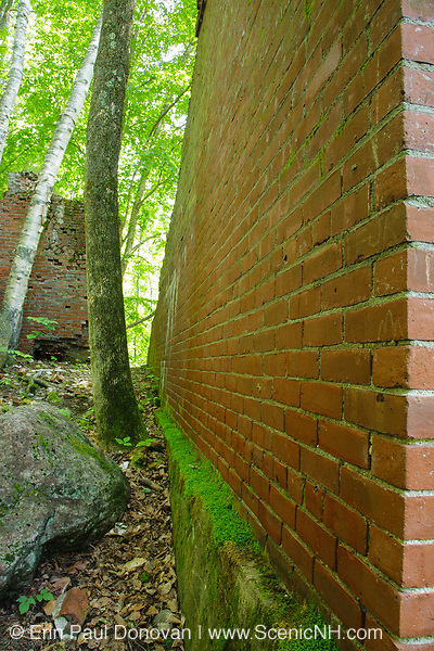 Brick wall of the powerhouse in the abandoned village of Livermore. This was a late 19th and early 20th century logging village along the Sawyer River Logging Railroad in Livermore, New Hampshire.