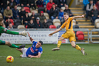 Rhys Healey of Newport County scores his side's second goal during the Sky Bet League 2 match between Newport County and Carlisle United at Rodney Parade, Newport, Wales on 12 November 2016. Photo by Mark  Hawkins.