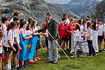 King Felipe VI of Spain, Princess Leonor of Spain and Princess Sofia of Spain visit the Enol lake in Asturias, Spain. September 08, 2018. (ALTERPHOTOS/A. Perez Meca)