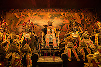 Statues of the Reverent King of Broad Grace are seen at the altar of the Yonghua Temple in Tainan, Taiwan, 2015.
