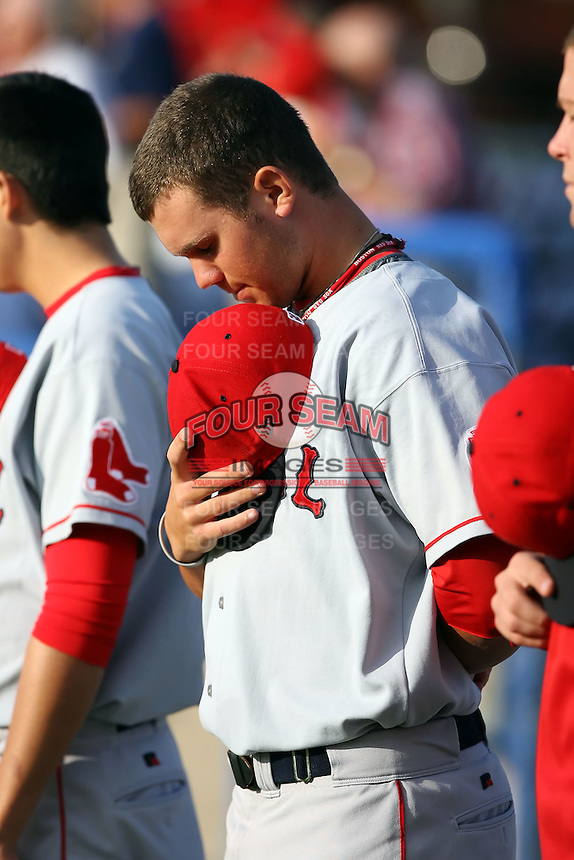 July 10th 2008:  Pitcher Drake Britton of the Lowell Spinners, Class-A affiliate of the Boston Red Sox, during a game at Dwyer Stadium in Batavia, NY.  Photo by:  Mike Janes/Four Seam Images