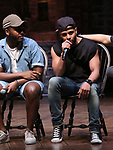"Deon'te Goodman and Terrance Spencer during the Q & A before The Rockefeller Foundation and The Gilder Lehrman Institute of American History sponsored High School student #eduHAM matinee performance of ""Hamilton"" at the Richard Rodgers Theatre on June 5, 2019 in New York City."