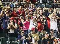 Mayos de Navojoa y aficionados festejan al tomar ventaja 4 carreras por 3 de naranjeros en la séptima entrada, durante juego de beisbol de la Liga Mexicana del Pacifico temporada 2017 2018. Quinto juego de la serie de playoffs entre Mayos de Navojoa vs Naranjeros. 6Enero2018. (Foto: Luis Gutierrez /NortePhoto.com)