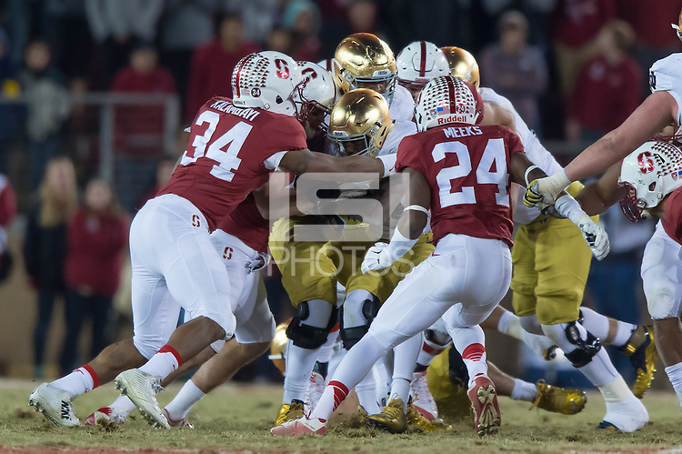 Stanford, CA - November 28, 2015:  Stanford vs University of Notre Dame football game at Stanford Stadium. The Cardinal defeat the Fighting Irish 38-36.