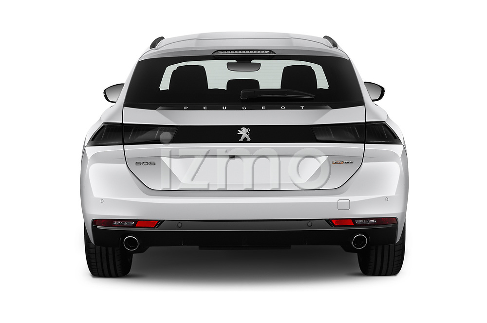 Straight rear view of a 2019 Peugeot 508 GT-Line 5 Door Wagon stock images