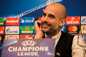 31st October 2017, San Paolo Stadium, Naples, Italy; UEFA Champions League; Pre Match Press Conference; SSC Napoli versus Manchester City; Head Coach Josep Guardiola of Manchester City smiles during the pre match press conference