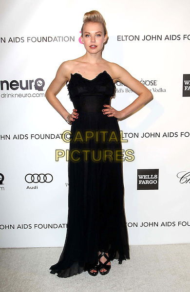 Diana Jenkins.21st Annual Elton John Academy Awards Viewing Party held at West Hollywood Park, West Hollywood, California, USA..February 24th, 2013.oscars full length dress black strapless hands on hips.CAP/ADM/KB.©Kevan Brooks/AdMedia/Capital Pictures.