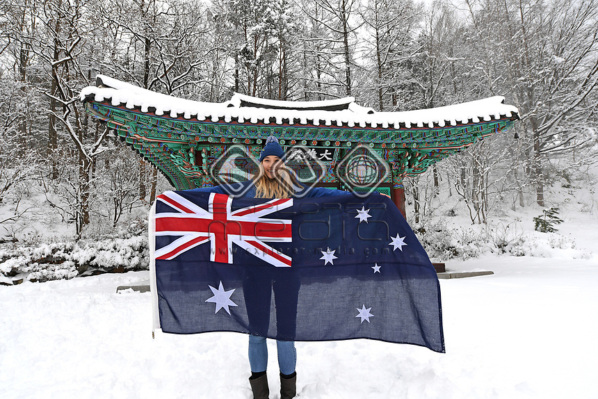 Australian Flag Bearer for the Opening Ceremony, Joany Badenhorst / Snowboarding<br /> PyeongChang 2018 Paralympic Games<br /> Australian Paralympic Committee<br /> PyeongChang South Korea<br /> Thursday March 8th 2018<br /> © Sport the library / Jeff Crow