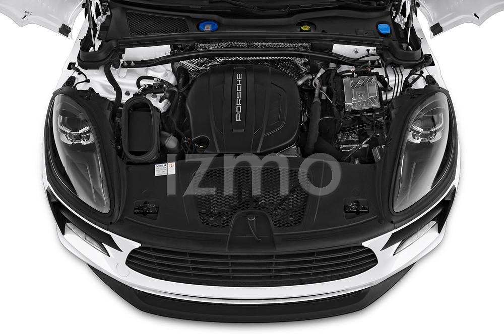 Car stock 2019 Porsche Macan Base 5 Door SUV engine high angle detail view