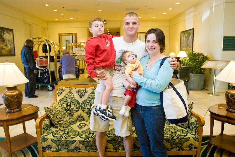 The Hermanson family at the Share and Care Network's annual retreat held at the Doubletree Guest Suites Hotel in Boston on May 20, 2006. <br /> <br /> The Share and Care Network was created in 1981 by Pat Cahill when her son Scott was diagnosed with Cockayne Syndrome.  A rare form of dwarfism, Cockayne Syndrome is a genetically determined condition whose symptoms include microcephaly, mental retardation, progressive blindness, progressive hearing loss, premature aging, and a shortened lifespan averaging 18 years.  Those afflicted have distinctive facial features, including sunken eyes, pinched faces, and protruding jaws as well as distinctive gregarious, affectionate personalities.<br /> <br /> Because of the rarity of the condition (1/1,000 live births) and its late onset (characteristics usually begin to appear only after one year), many families and physicians are often baffled by children whose health begins to deteriorate after normal development.  It was partly with this in mind that the Share and Care Network was formed, to promote awareness of this disease as well as to provide a support network for those families affected.  In 1998 it began organizing an annual retreat, which has grown from three families in its inaugural year to more than 30 today.  Although the retreat takes place in the United States, families from as far as Japan arrive for this one weekend out of the year to share information and to support one another.