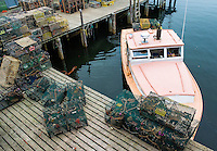Lobster boat at dock, Bernard, Maine, USA