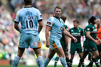 Dylan Hartley of Northampton Saints is sent off just before the half time whistle during the Aviva Premiership Final between Leicester Tigers and Northampton Saints at Twickenham Stadium on Saturday 25th May 2013 (Photo by Rob Munro)