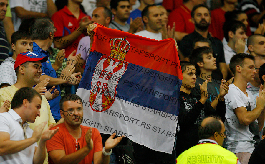 BELGRADE, SERBIA - AUGUST 18:  Navijaci, Supporters, during the FIBA EuroBasket group A qualifying match between Serbia and Montenegro in Belgrade Kombank Arena on August 18, 2012 in Belgrade, Serbia.(credit: Pedja Milosavljevic/thepedja@gmail.com/+381641260959)