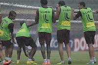 SÃO PAULO, SP, 14 DE FEVEREIRO DE 2014 - ESPORTES - FUTEBOL - TREINO DA PORTUGUESA - jogadores  durante treino no estádio do Canindé, preparação para partida contra a equipe do São Pauo.  (Foto: Dorival Rosa / Brazil Photo Press).