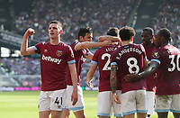 West Ham United's Declan Rice leads the celebrations after Lucas Perez had scored his side's second goal <br /> <br /> Photographer Rob Newell/CameraSport<br /> <br /> The Premier League - West Ham United v Leicester City - Saturday 20th April 2019 - London Stadium - London<br /> <br /> World Copyright © 2019 CameraSport. All rights reserved. 43 Linden Ave. Countesthorpe. Leicester. England. LE8 5PG - Tel: +44 (0) 116 277 4147 - admin@camerasport.com - www.camerasport.com