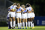 15 October 2016: Duke's starters huddle before the game. The Duke University Blue Devils hosted the University of Virginia Cavaliers at Koskinen Stadium in Durham, North Carolina in a 2016 NCAA Division I Women's Soccer match. Duke won the game 1-0.