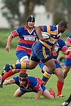 P. Sauburu steps over D. Fourie. Counties Manukau  Premier Club Rugby Round 3 game between Patumahoe & Ardmore Marist played at Patumahoe on the 28th of April 2007. Patumahoe led 25 -12 at halftime and went on to win 32 - 15.