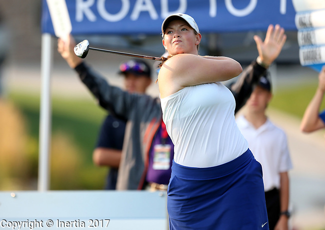 SIOUX FALLS, SD - SEPTEMBER 3: Caroline Inglis watches her tee shot on the first hole during the final round of the 2017 Great Life Challenge Symetra Tour stop at Willow Run in Sioux Falls.  (Photo by Dave Eggen/Inertia)