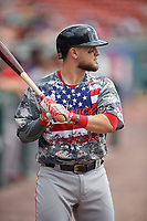Boston Red Sox Michael Chavis (19), on rehab assignment with the Pawtucket Red Sox, on deck during an International League game against the Buffalo Bisons on August 25, 2019 at Sahlen Field in Buffalo, New York.  Buffalo defeated Pawtucket 5-4 in 11 innings.  (Mike Janes/Four Seam Images)