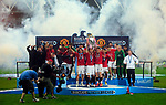 Manchester United's Ryan Giggs lifts the FA Premier League Trophy during the Premier League match at The JJB Stadium, Wigan. Picture date 11th May 2008. Picture credit should read: Simon Bellis/Sportimage