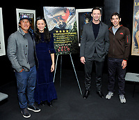 "NEW YORK - DECEMBER 5: Climber/Director Jimmy Chin, director E. Chai Vasarhelyi, actor Hugh Jackman and climber Alex Honnold  attend a screening of National Geographic Documentary Films ""Free Solo"" at the Walter Reade Theater on December 5, 2018 in New York City. (Photo by Stephen Smith/National Geographic/PictureGroup)"