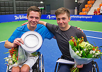 Rotterdam, Netherlands, December 19, 2015,  Topsport Centrum, Lotto NK Tennis, Wheelchair Junior championships, Winner : Ruben Spaargaren  (L) and runner up Sam Schröder (NED)<br /> Photo: Tennisimages/Henk Koster