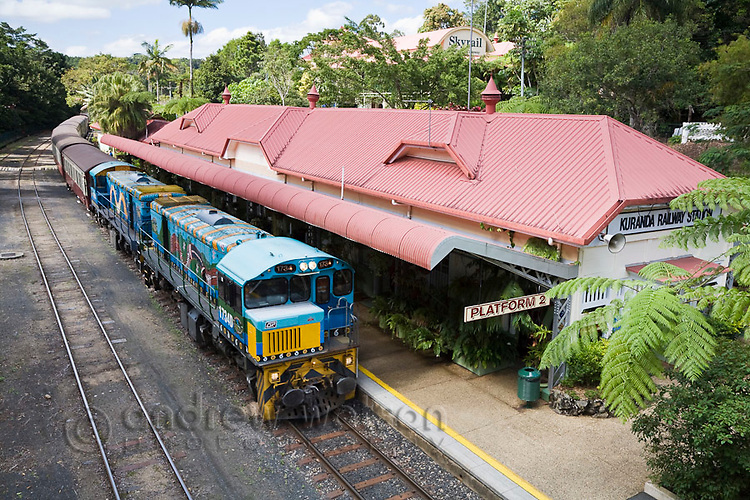 Kuranda Scenic Railway train at Kuranda Station.  Kuranda, Cairns, Queensland, Australia