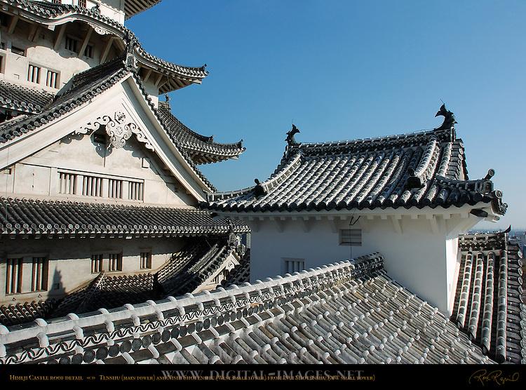 Himeji Castle Tenshu Chidori Hafu gable detail Nishi Shotenshu Kotenshu roof detail Shirasagi-jo White Heron Castle Himeji Japan
