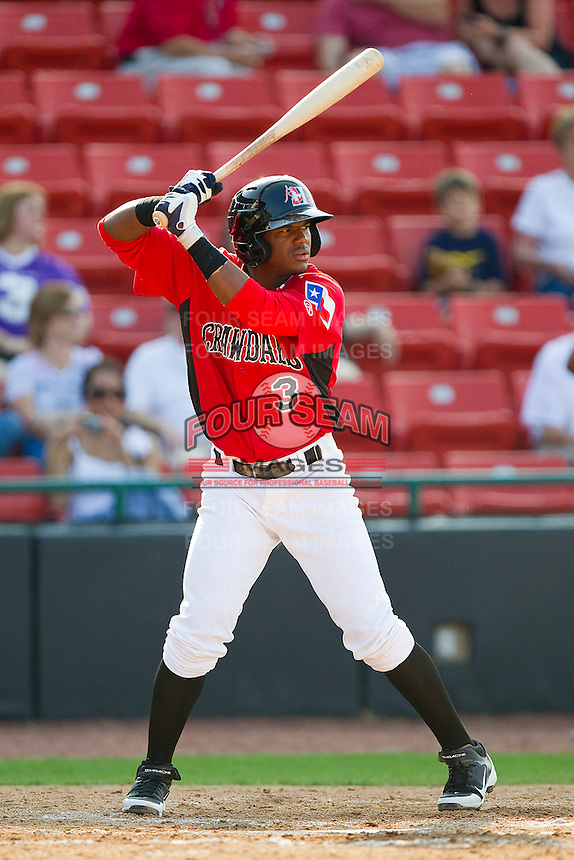 Hanser Alberto #3 of the Hickory Crawdads at bat against the Charleston RiverDogs at L.P. Frans Stadium on April 29, 2012 in Hickory, North Carolina.  The Crawdads defeated the RiverDogs 12-3.  (Brian Westerholt/Four Seam Images)