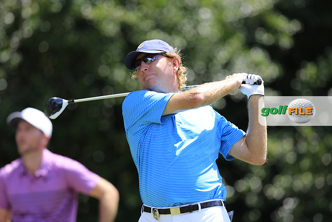 Paul Claxton (USA) tees off the 14th tee during Thursday's Round 1 of the 2017 PGA Championship held at Quail Hollow Golf Club, Charlotte, North Carolina, USA. 10th August 2017.<br /> Picture: Eoin Clarke | Golffile<br /> <br /> <br /> All photos usage must carry mandatory copyright credit (&copy; Golffile | Eoin Clarke)