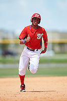 GCL Nationals designated hitter Juan Soto (25) running the bases during a game against the GCL Astros on August 14, 2016 at the Carl Barger Baseball Complex in Viera, Florida.  GCL Nationals defeated GCL Astros 8-6.  (Mike Janes/Four Seam Images)