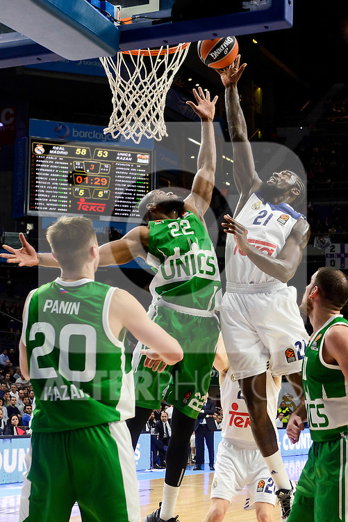 Real Madrid's player Othello Hunter and Unics Kazan's player Vadim Panin, Latavious Williams and Quino Colom during match of Turkish Airlines Euroleague at Barclaycard Center in Madrid. November 24, Spain. 2016. (ALTERPHOTOS/BorjaB.Hojas)