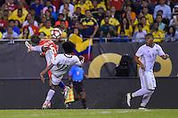 Chicago, IL - Wednesday June 22, 2016: Jose Pedro Fuenzalida, Juan Cuadrado during a Copa America Centenario semifinal match between Colombia (COL) and Chile (CHI) at Soldier Field.