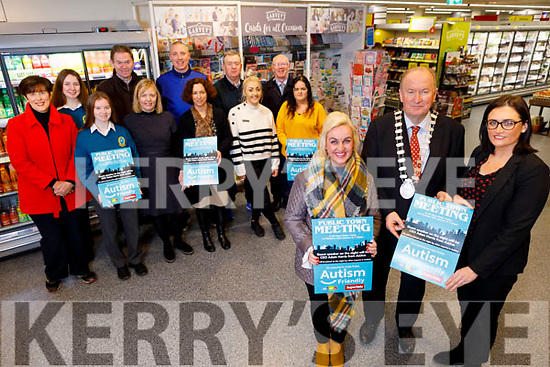 Launching the Autism Friendly Town initiative in Garveys Supervalu in tralee on Monday.  <br /> Front L to r: Dr Susan lawlor, Cllr Jim Finucane, Mayor of Tralee and Sandra Lynch (Garveys Supervalu).<br /> Standing l to r: Cllr Norma Foley, Marie Kingston, Jean Foley (KCC), Edel Randles (ITT), Amber Moriarty (Garveys) and Nora Smith. <br /> Back row l to r: Katie Hussey, Karl Keoghan, Kieran Donaghy, Jimmy Adams and John Brassil TD.