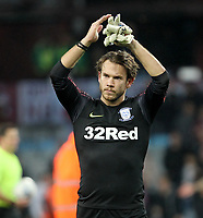 Preston North End's Chris Maxwell celebrates his last minute penalty save<br /> <br /> Photographer Mick Walker/CameraSport<br /> <br /> The EFL Sky Bet Championship - Aston Villa v Preston North End - Tuesday 2nd October 2018 - Villa Park - Birmingham<br /> <br /> World Copyright &copy; 2018 CameraSport. All rights reserved. 43 Linden Ave. Countesthorpe. Leicester. England. LE8 5PG - Tel: +44 (0) 116 277 4147 - admin@camerasport.com - www.camerasport.com