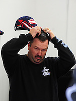 Feb. 28, 2009; Las Vegas, NV, USA; NASCAR Sprint Cup Series crew chief Tony Eury Jr reacts during practice for the Shelby 427 at Las Vegas Motor Speedway. Mandatory Credit: Mark J. Rebilas-