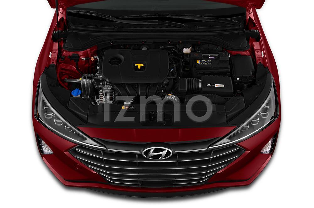 Car Stock 2020 Hyundai Elantra Limited 4 Door Sedan Engine  high angle detail view