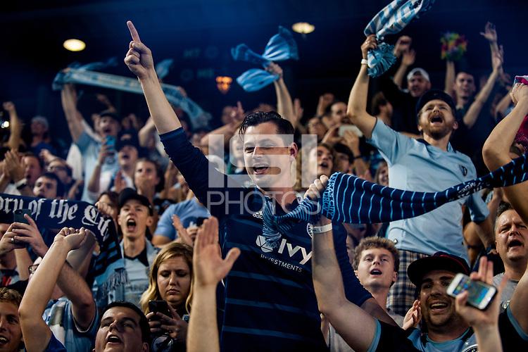 Kansas City, KS - Wednesday August 9, 2017: fan, fans, Sporting Kansas City during a Lamar Hunt U.S. Open Cup Semifinal match between Sporting Kansas City and the San Jose Earthquakes at Children's Mercy Park.