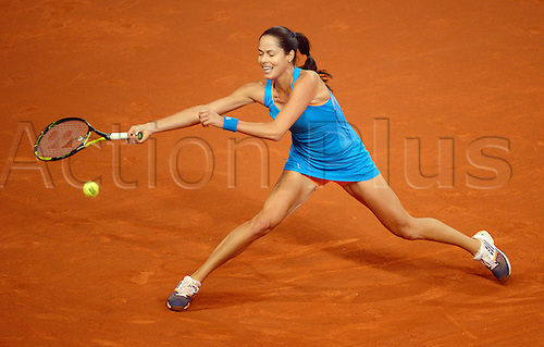 27.04.2014. Stuttgart, Germany.  Ana Ivanovic of Serbia in action against Maria Sharapova of Russia during the final match of the WTA tennis tournament in Stuttgart, Germany, 27 April 2014.