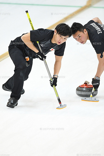 (L-R) Kosuke Morozumi, Takeshi Yamaguchi (JPN), <br /> FEBRUARY 18, 2017 - Curling : <br /> Men's Round Robin match between<br /> Japan 19-1 Qatar <br /> during the 2017 Sapporo Asian Winter Games <br /> at Sapporo Curling Stadium in Hokkaido, Japan. <br /> (Photo by AFLO SPORT)