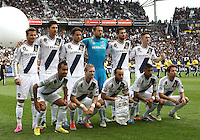 CARSON, CA - DECEMBER 01, 2012:  Starting eleven of the Los Angeles Galaxy against the Houston Dynamo during the 2012 MLS Cup at the Home Depot Center, in Carson, California on December 01, 2012. The Galaxy won 3-1.