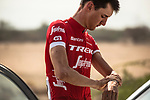 Nicola CONCI (ITA) Trek-Segafredo applies sunscreen at sign on before the start of Stage 2 of the 2018 Tour of Oman running 167.5km from Sultan Qaboos University to Al Bustan. 14th February 2018.<br /> Picture: ASO/Muscat Municipality/Kare Dehlie Thorstad | Cyclefile<br /> <br /> <br /> All photos usage must carry mandatory copyright credit (&copy; Cyclefile | ASO/Muscat Municipality/Kare Dehlie Thorstad)