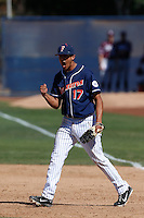 Carlos Lopez #17 of the Cal State Fullerton Titans celebrates win against the Texas A&M Aggies at Goodwin Field on March 10, 2013 in Fullerton, California. (Larry Goren/Four Seam Images)