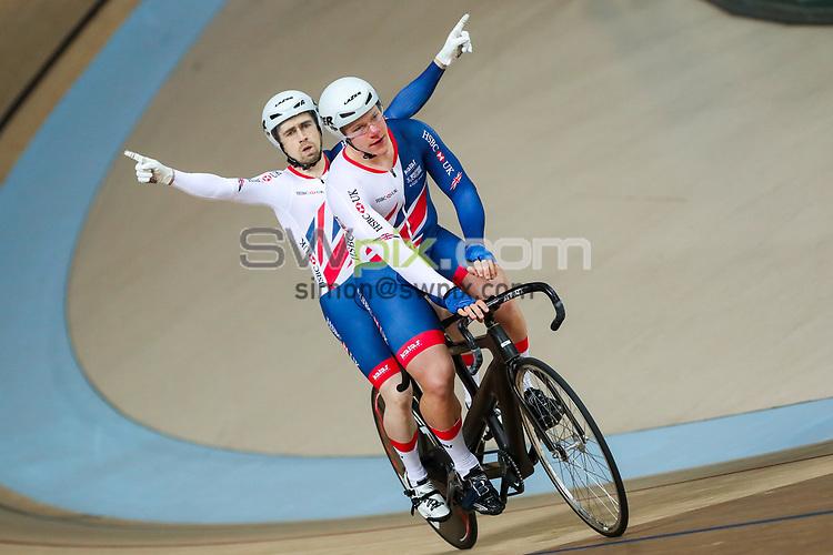 Picture by Alex Whitehead/SWpix.com - 25/03/2018 - Cycling - 2018 UCI Para-Cycling Track World Championships - Rio de Janeiro Municipal Velodrome, Barra da Tijuca, Brazil - Neil Fachie piloted by Matt Rotherham of Great Britain win Gold in the Men's Sprint final.